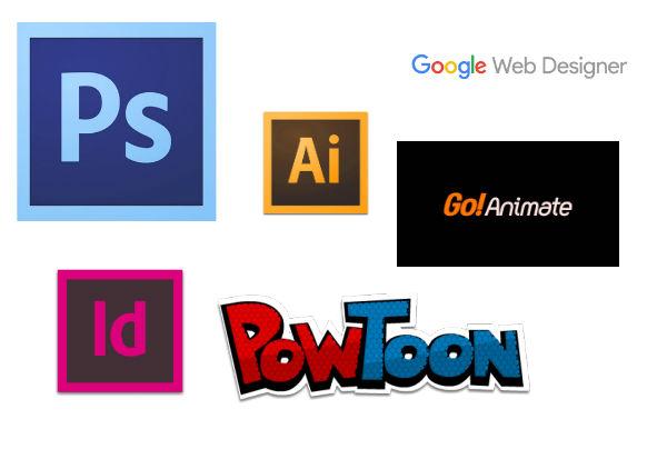 Logiciels : Adobe Photoshop, Indesign, Illustrator, Powtoon, GoAnimate, Google Webdesigners